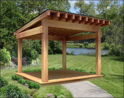 "Our 12' x 12' Custom Heavy Timber Cedar Pergola features 2"" x 12 - Custom Pergolas"