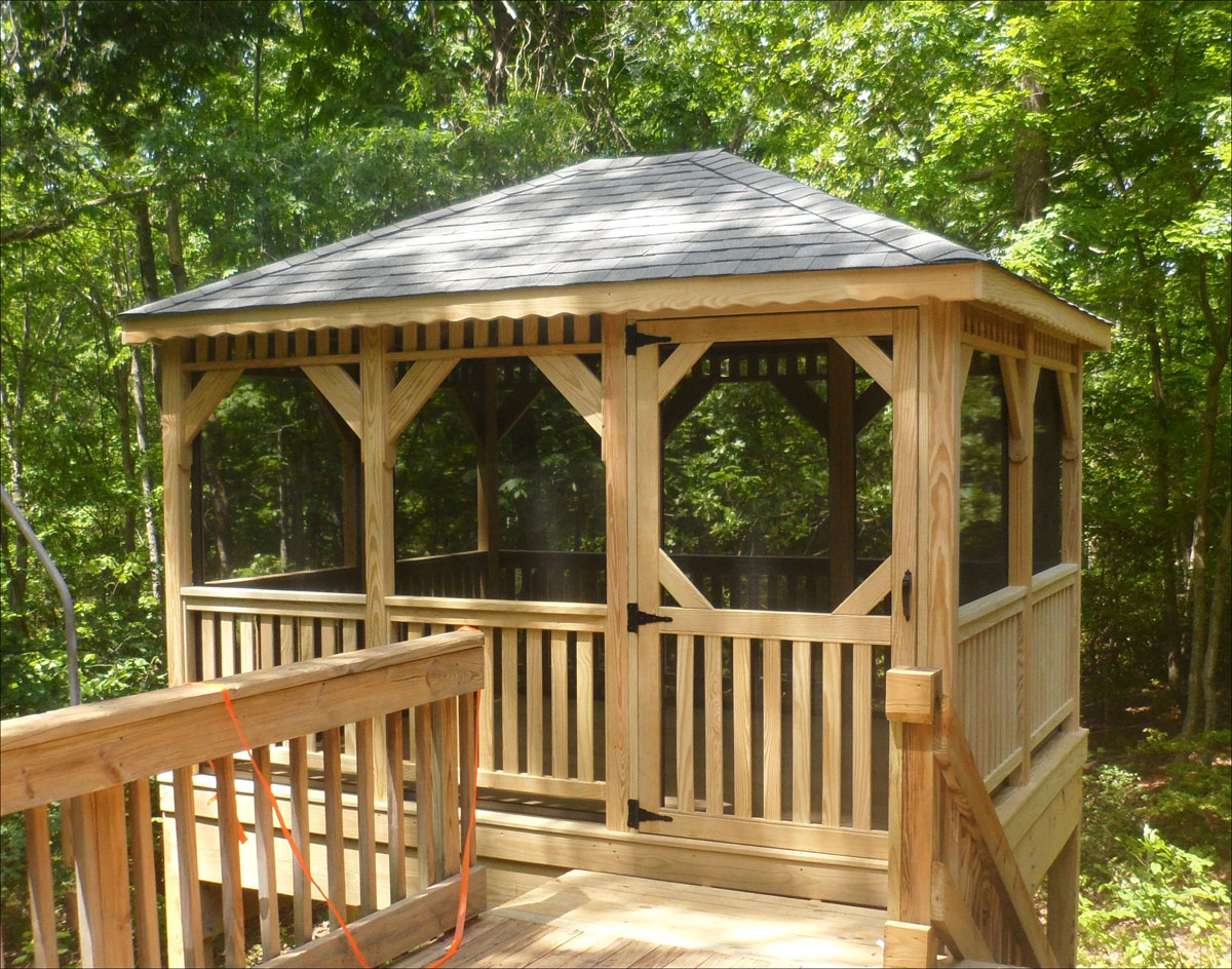 10 X 12 Treated Pine Rectangular Gazebo Shown With Custom Straight Braces Full Set Of Screens And Screen Door Offset