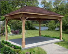 Rough Cut Cedar Open Rectangle Gazebos