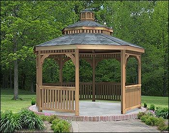 red cedar double roof octagon gazebos with metal roof. Black Bedroom Furniture Sets. Home Design Ideas