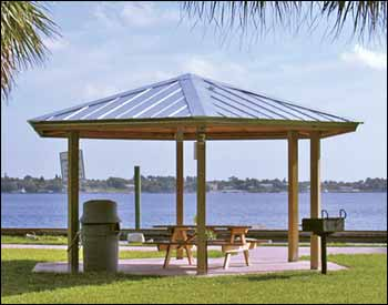 Metal roof metal roof pavilions for Gazebo roof pitch