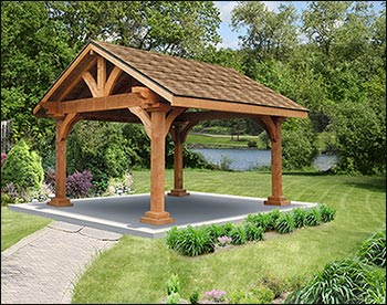 Rough cut cedar gable roof open rectangle gazebos with for Gazebo roof pitch