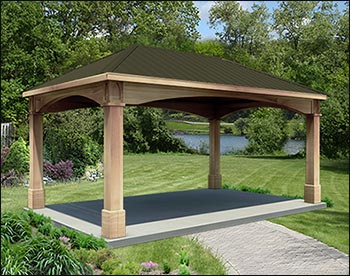 Rough cut cedar single roof open rectangle gazebos with for Gazebo roof pitch