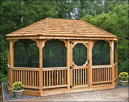 Red cedar single roof 8 sided oval gazebos gazebos by for 8 sided gazebo plans