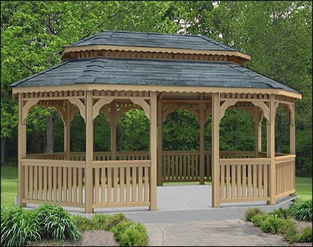 Red Cedar Double Roof 8 Sided Oval Gazebos Gazebos By