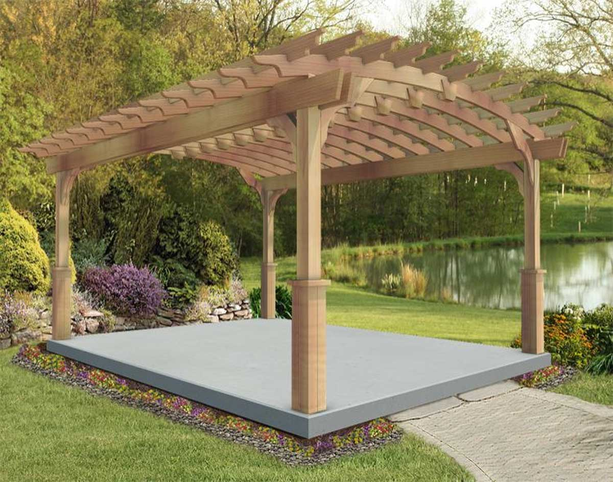 red cedar arched garden free standing pergolas pergolas by material. Black Bedroom Furniture Sets. Home Design Ideas