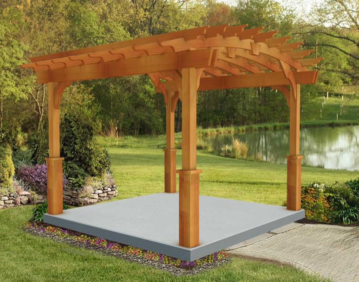 Red cedar arched garden free standing pergolas pergolas for Photos pergolas
