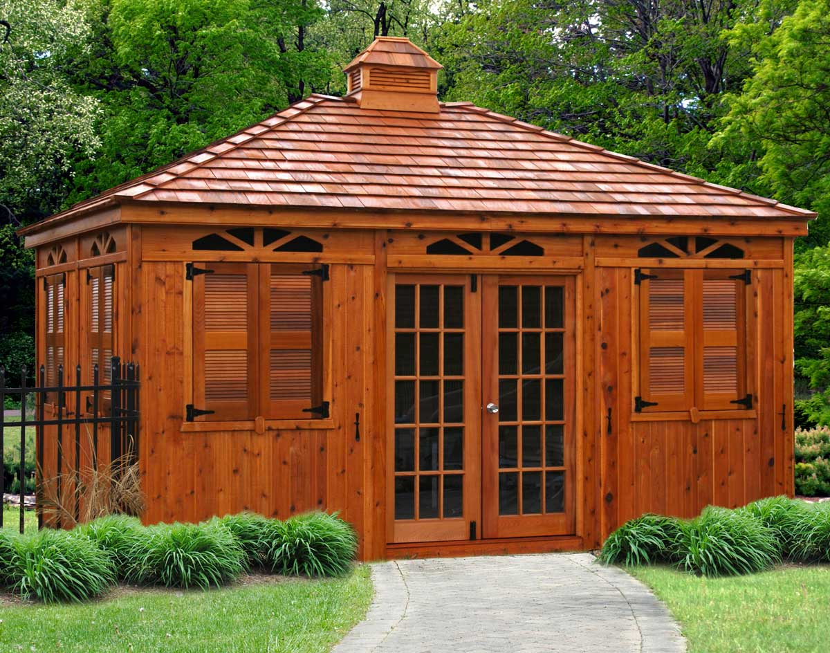Red cedar rectangle cabanas custom cabanas for French style gazebo