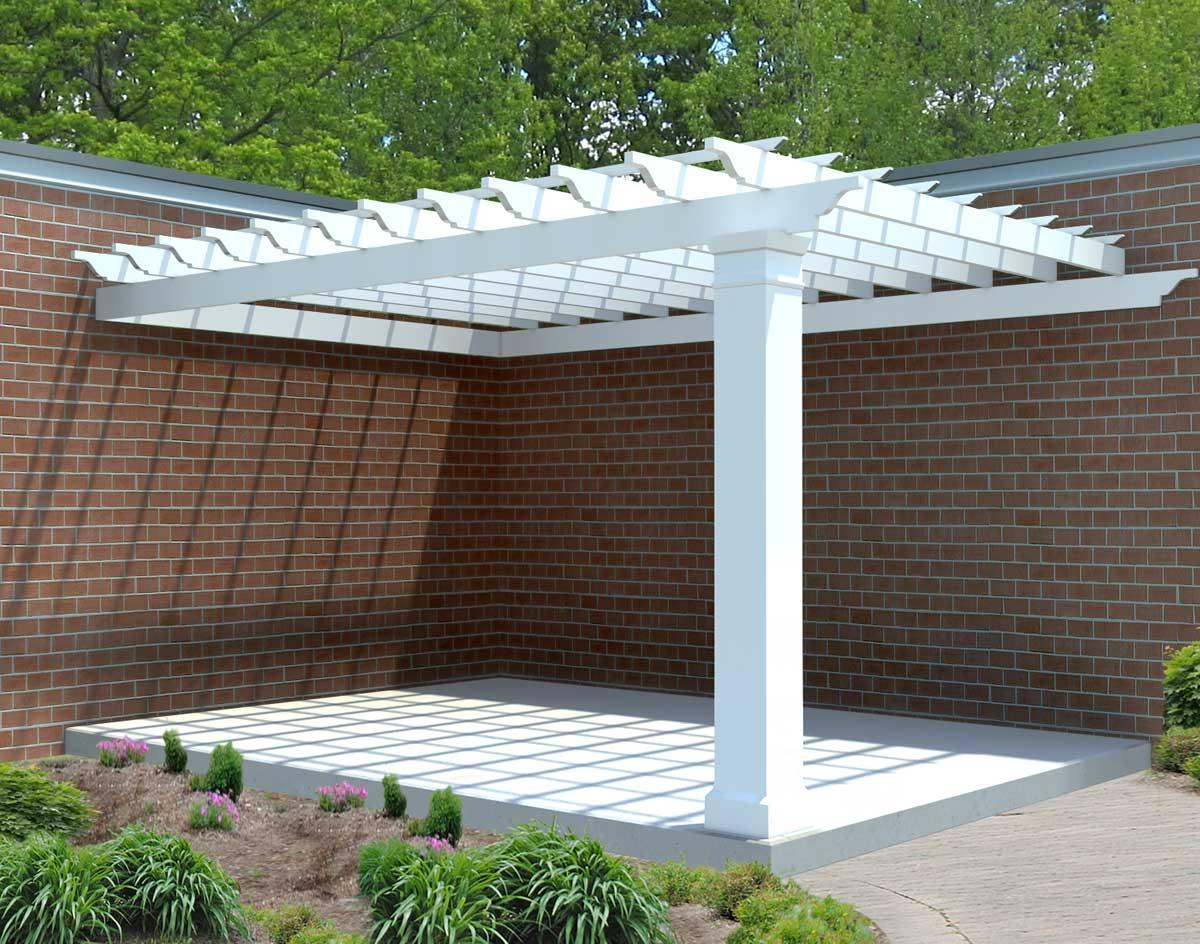Fiberglass Corner Wall Mount Pergolas   Pergolas by Style   GazeboCreations.com