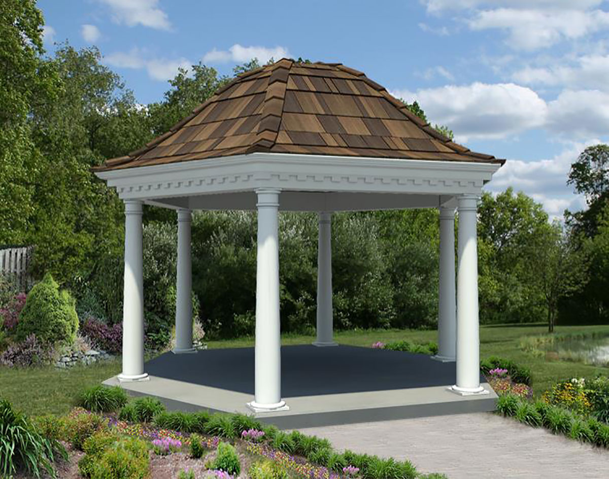 Vinyl Belle Roof Hexagon Gazebos Gazebos By Style