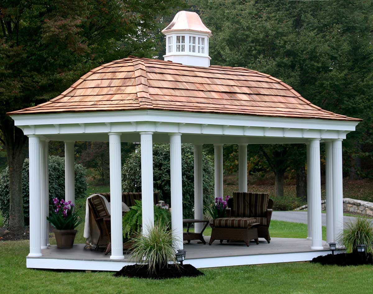 vinyl belle roof elongated hexagon gazebos with oil rubbed. Black Bedroom Furniture Sets. Home Design Ideas
