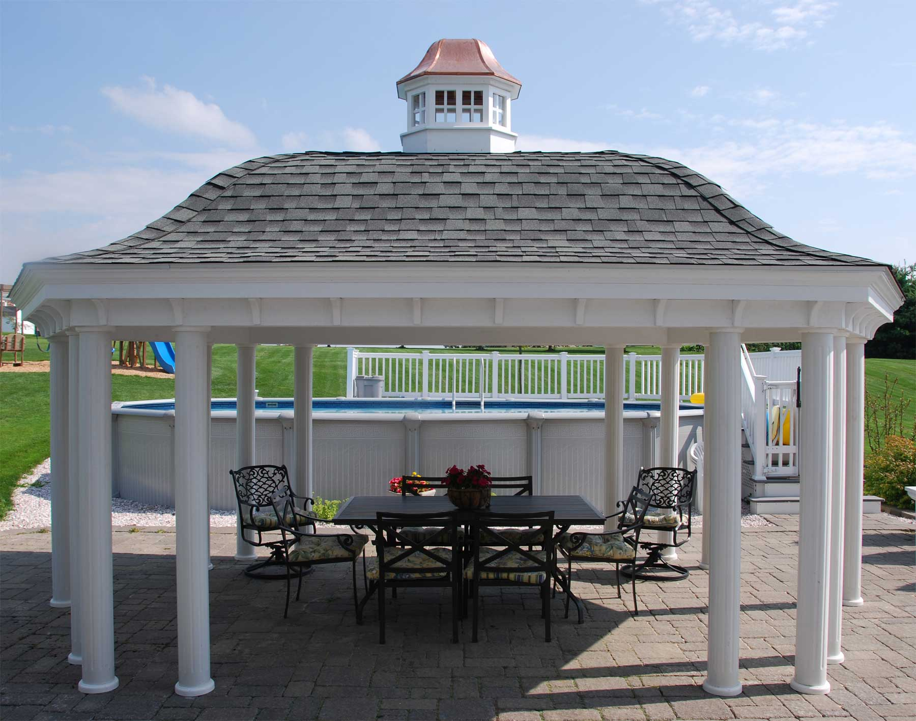 Vinyl belle roof elongated hexagon gazebos gazebos by for Cupola designs