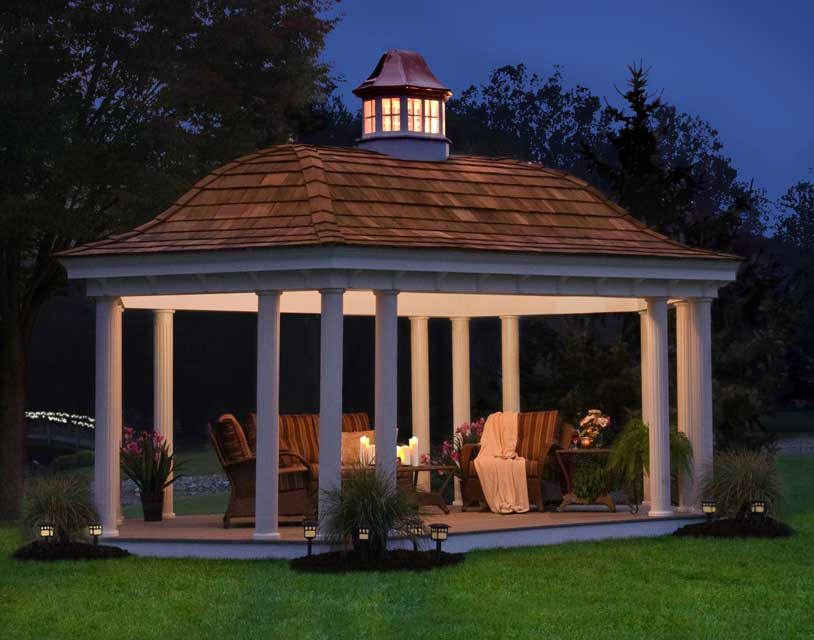 Gazebo design with chairs and table