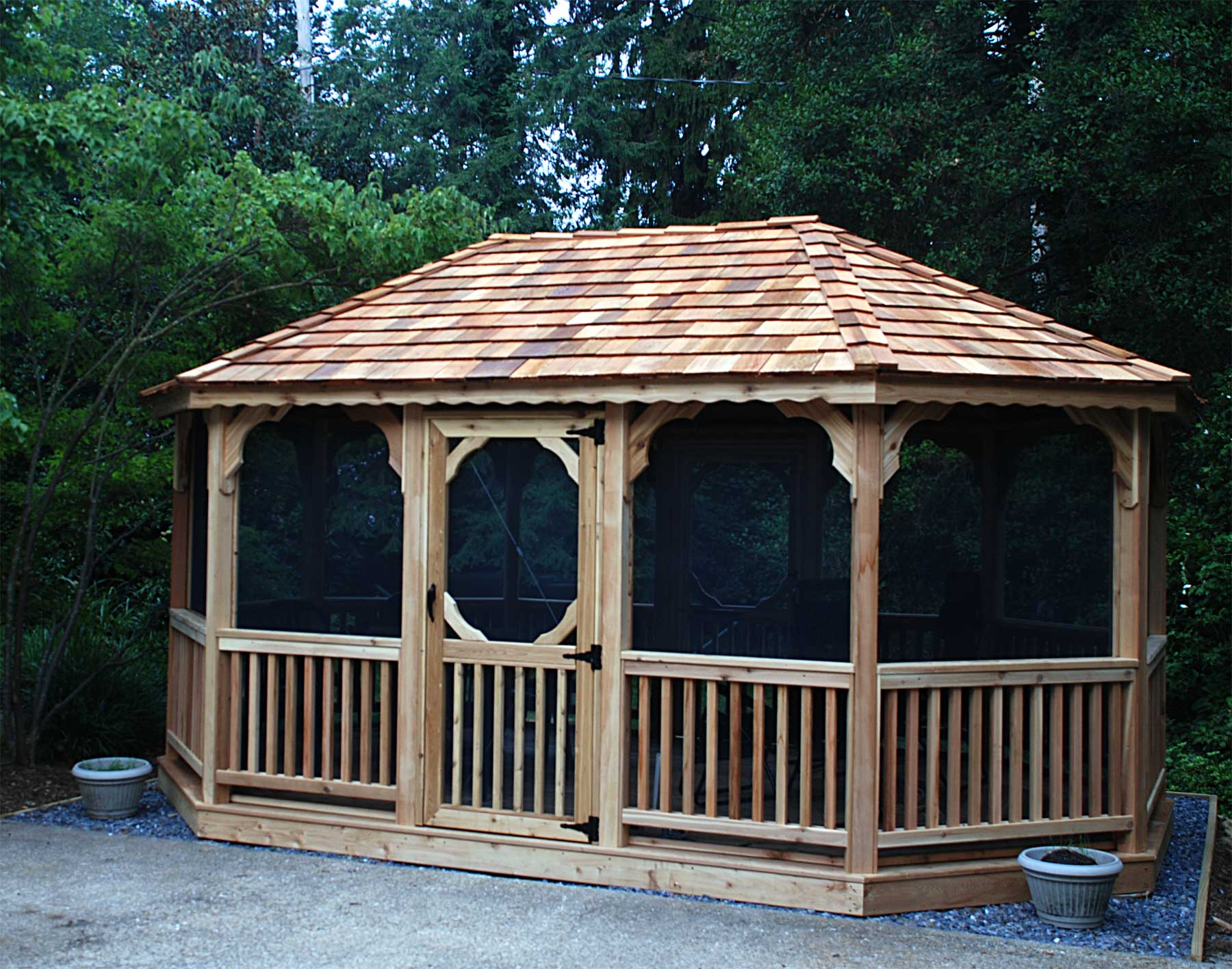 Red Cedar Single Roof 8 Sided Oval Gazebos With Metal Roof