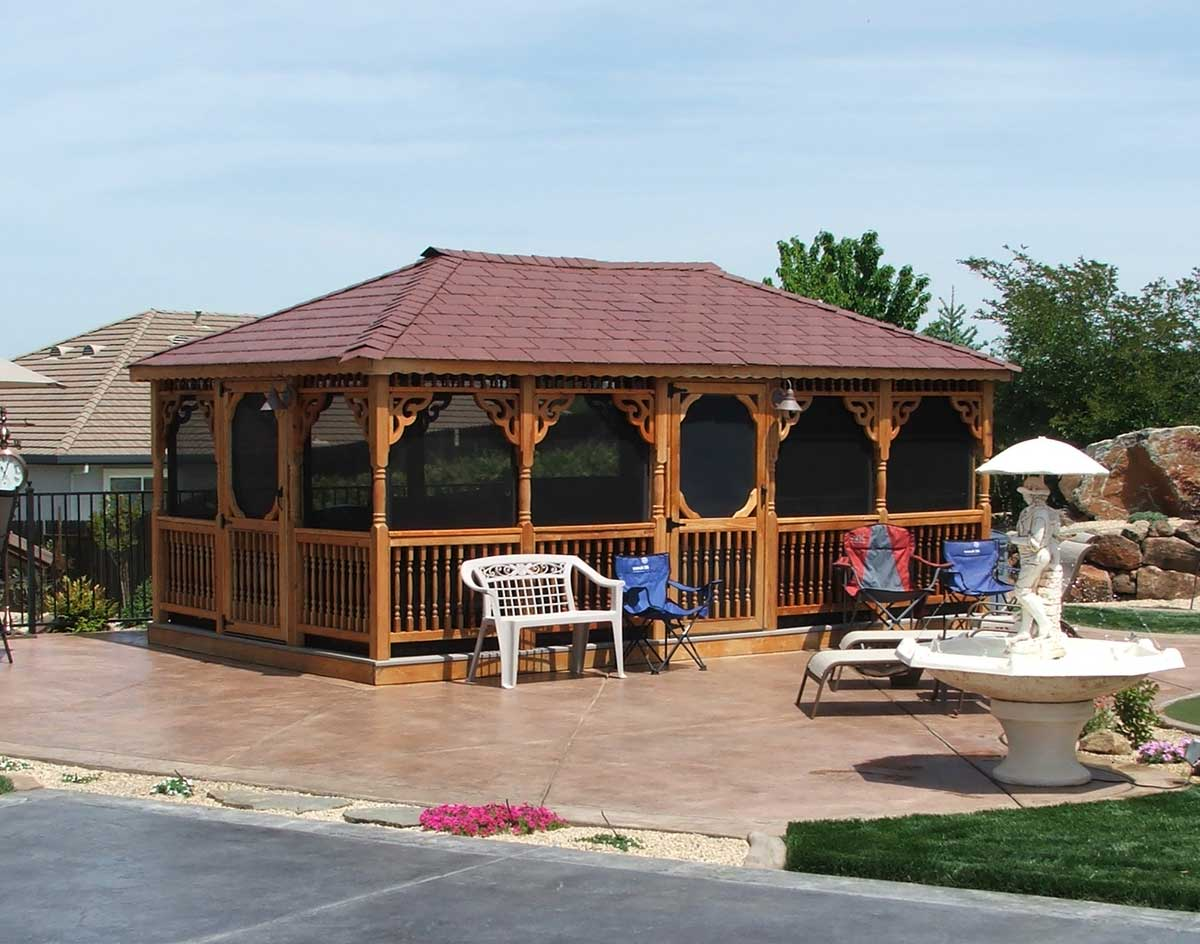 Red Cedar Single Roof Rectangle Gazebos Gazebos By