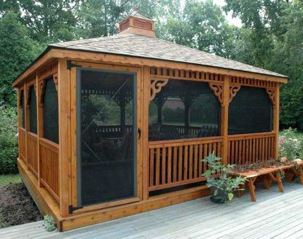 Red Cedar Single Roof Rectangle Gazebos With Red Cedar