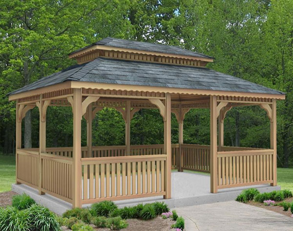 red cedar double roof rectangle gazebos - Metal Roof Gazebo