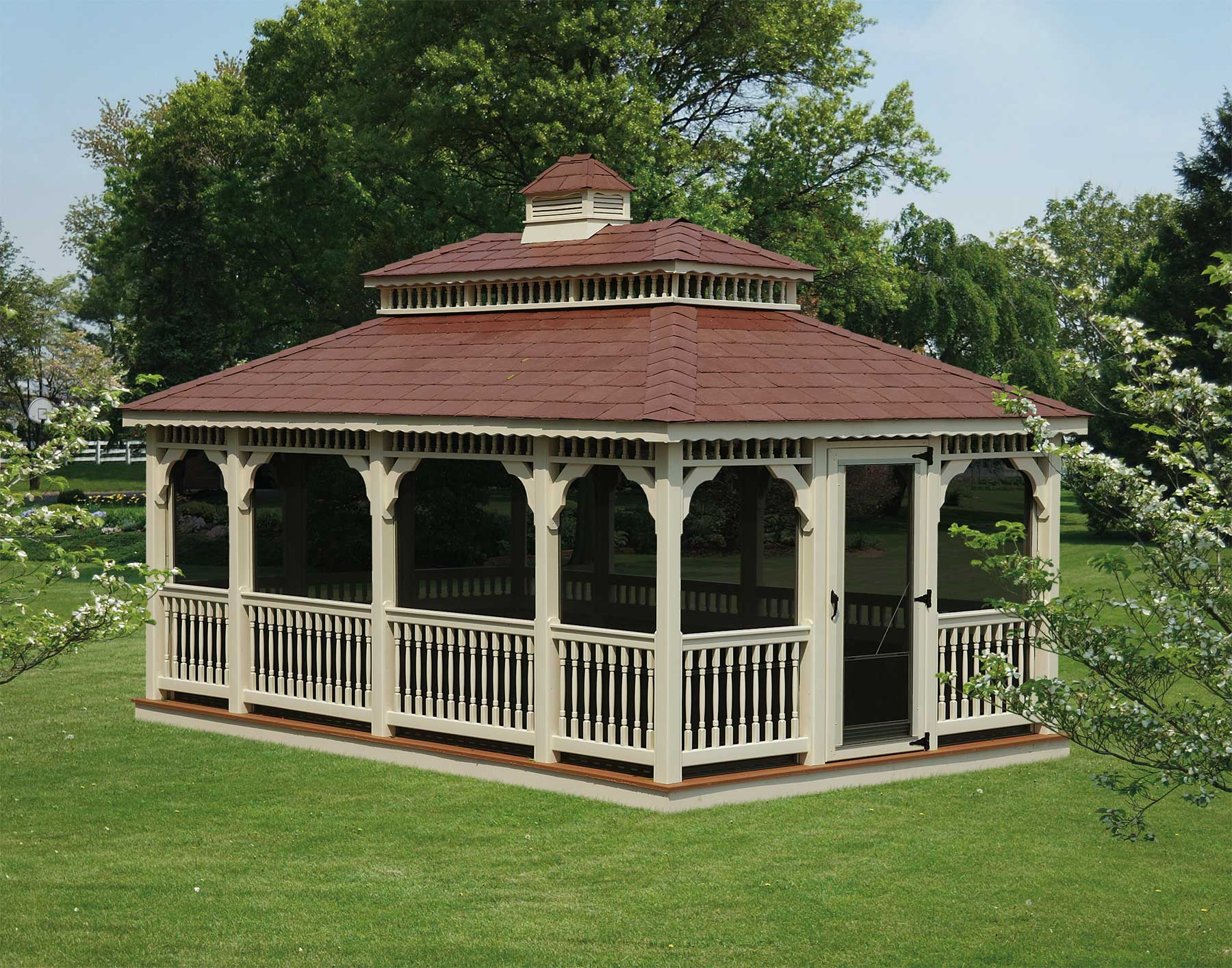 Vinyl Double Roof Rectangle Gazebos With Oil Rubbed Bronze