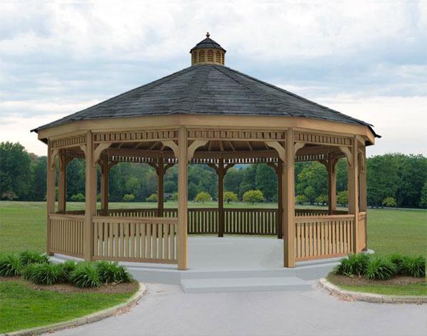 Red cedar single roof dodecagon gazebos gazebos by style for 8 sided gazebo plans