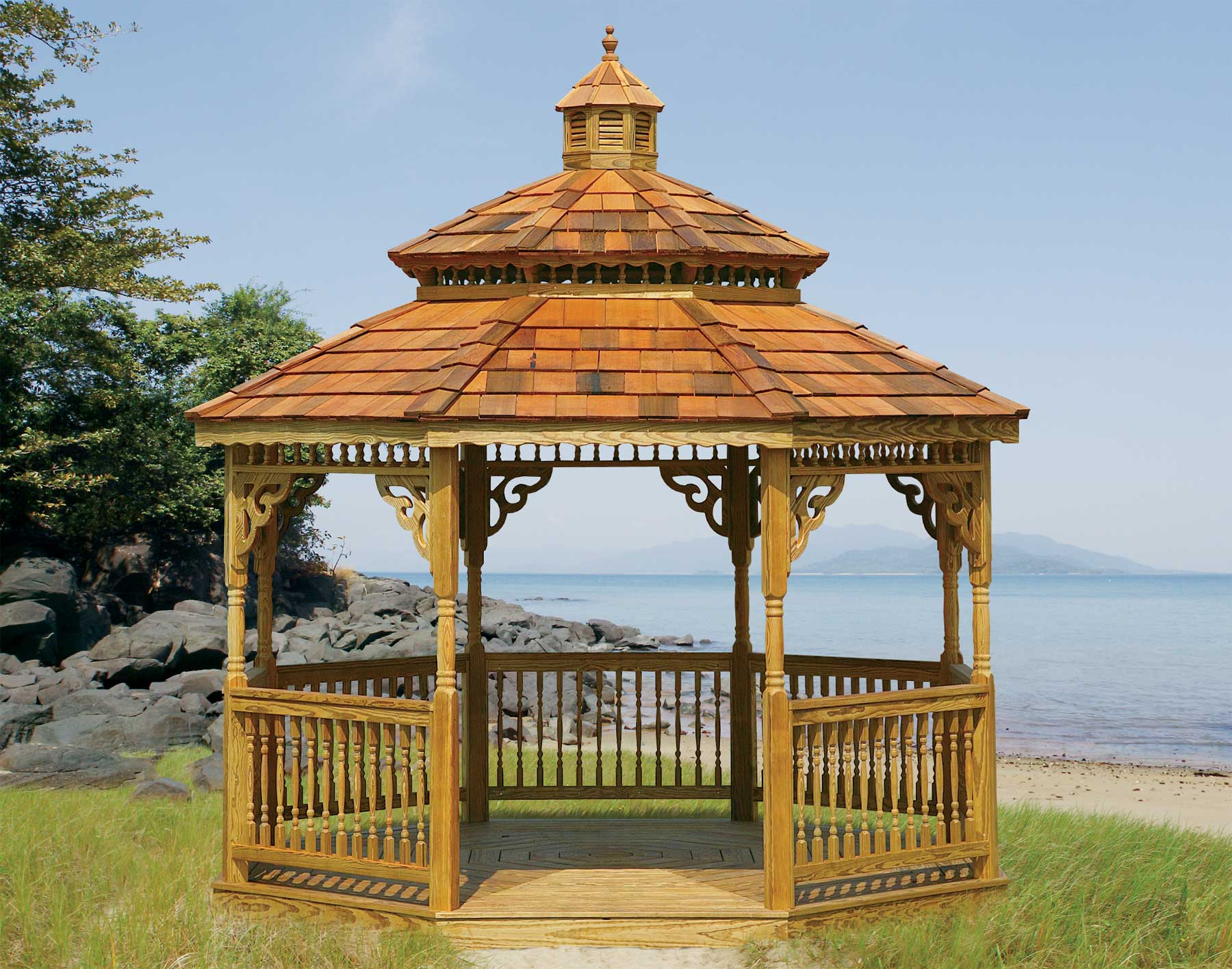 Treated Pine Double Roof Octagon Gazebos Gazebos By