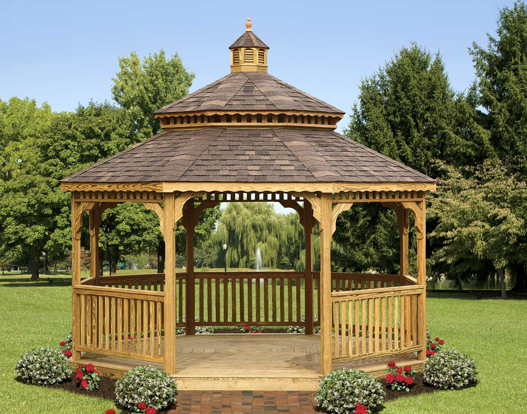 treated pine double roof octagon gazebos gazebos by material. Black Bedroom Furniture Sets. Home Design Ideas