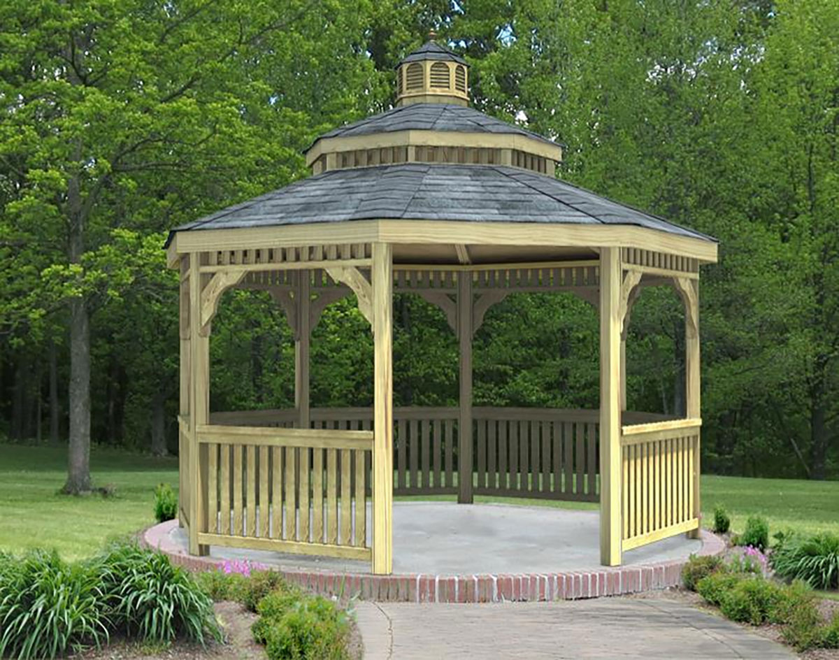 treated pine double roof octagon gazebos gazebos by style. Black Bedroom Furniture Sets. Home Design Ideas