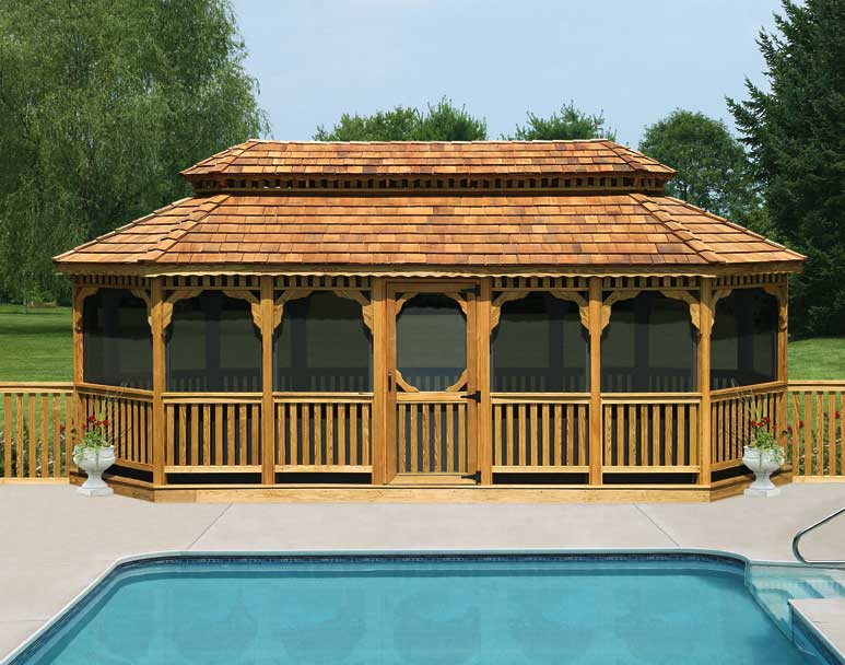 Treated pine double roof 8 sided oval gazebos gazebos by for 8 sided gazebo plans