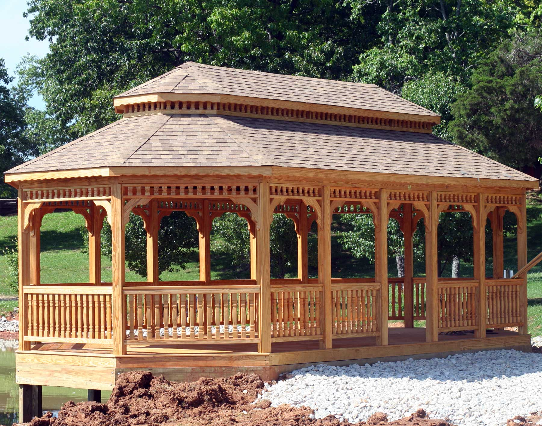 Treated pine double roof 8 sided oval gazebos gazebos by for Gazebo house plans