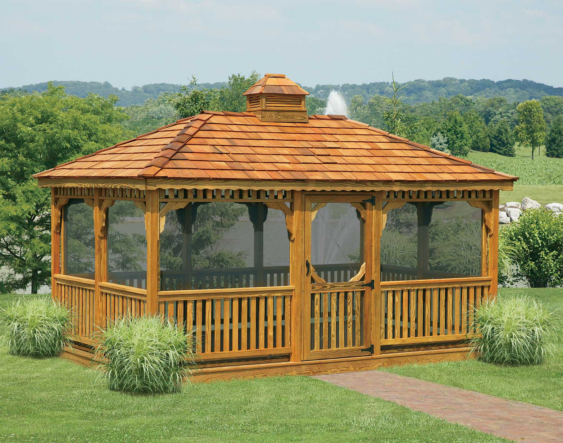 Treated pine single roof rectangle gazebos gazebos by style - Enclosed gazebo models ...