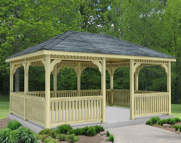 In Vogue Single Roof Rectangle Enclosed Gazebo With Wooden: Treated Pine Single Roof Rectangle Gazebos With Rubber