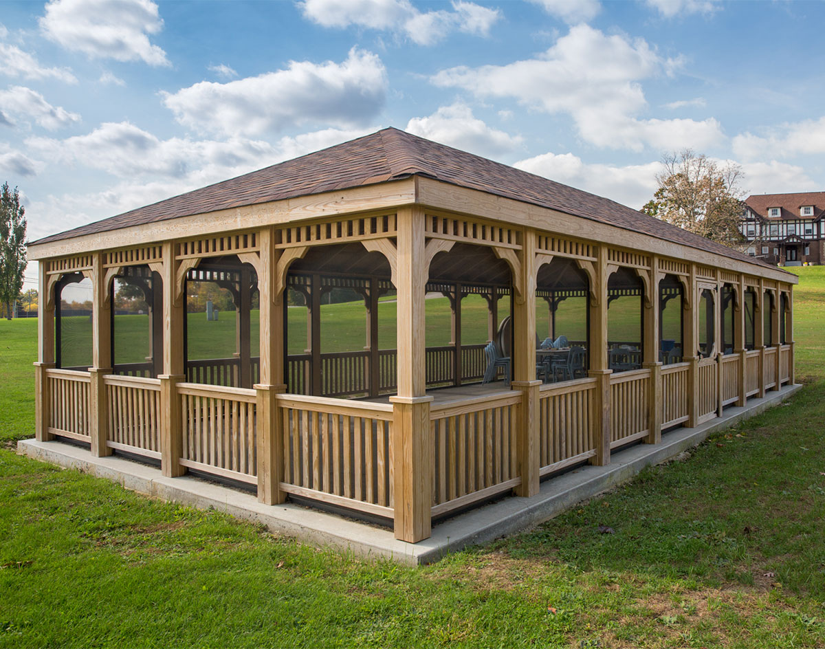 Treated Pine Single Roof Rectangle Gazebos Gazebos By