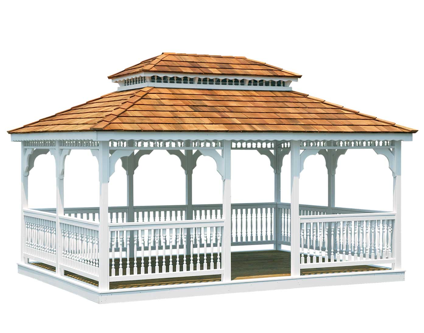 Treated Pine Double Roof Rectangle Gazebos