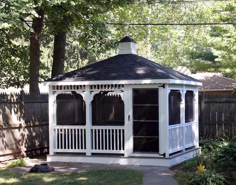 vinyl single roof rectangle gazebos gazebos by material. Black Bedroom Furniture Sets. Home Design Ideas