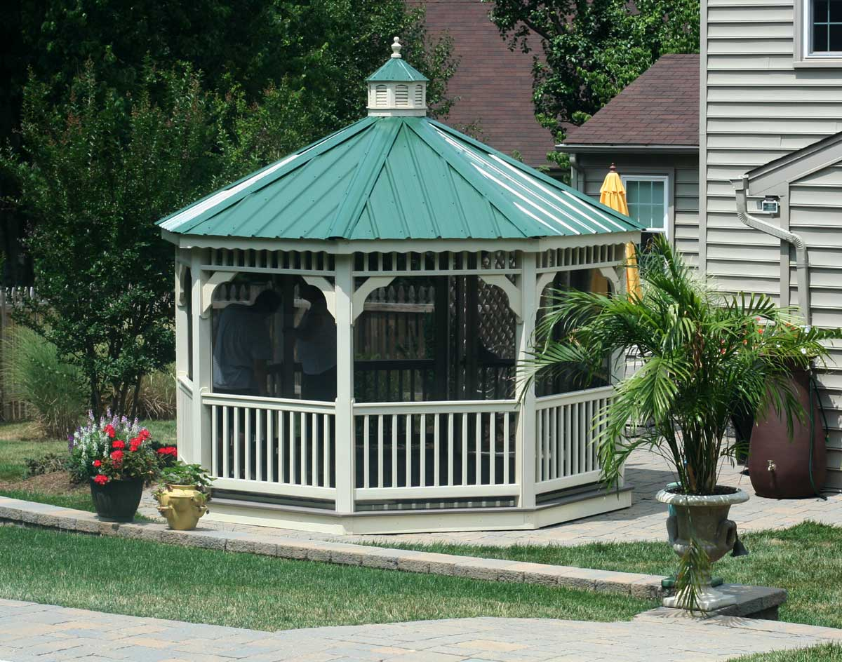 Vinyl Single Roof Octagon Gazebos With Metal Roof