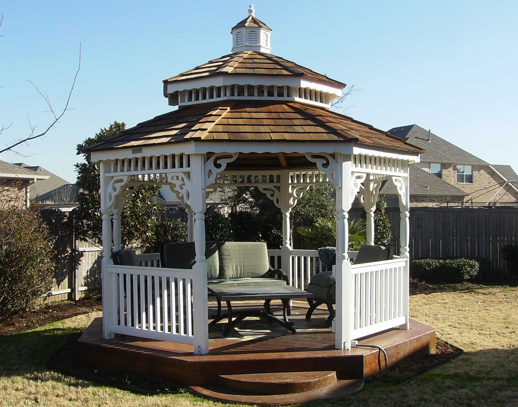 Vinyl Double Roof Octagon Gazebos Gazebos By Material