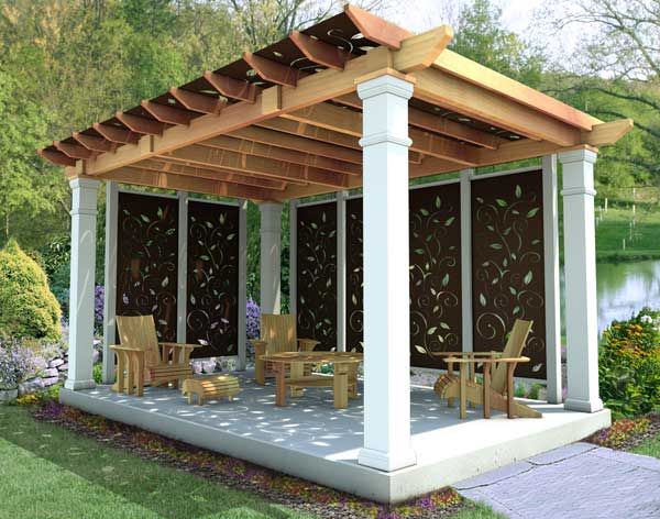 rough cut cedar oasis free standing pergolas pergolas by material. Black Bedroom Furniture Sets. Home Design Ideas