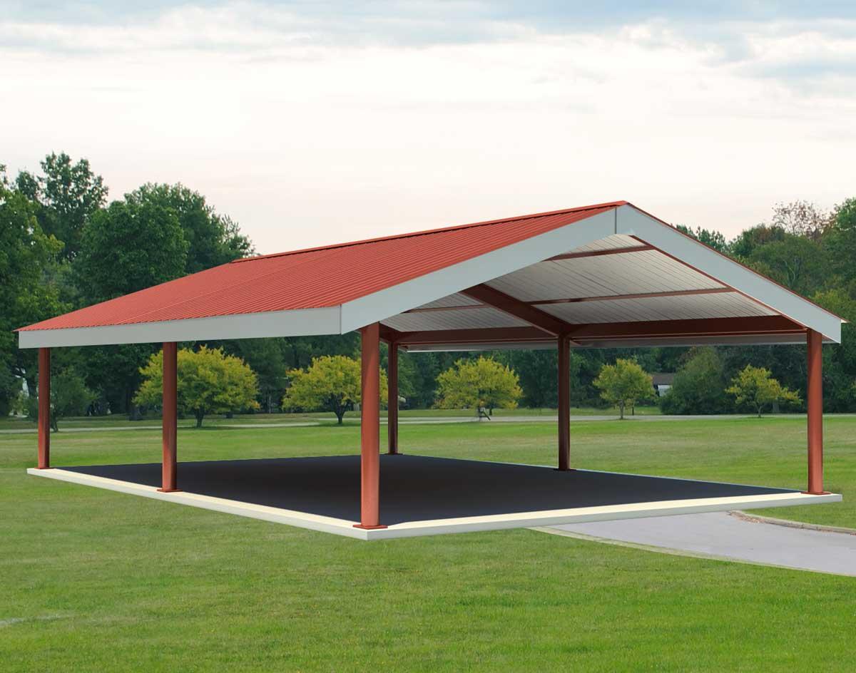 Steel i beam single roof savannah rectangle pavilions for Pavilion blueprints