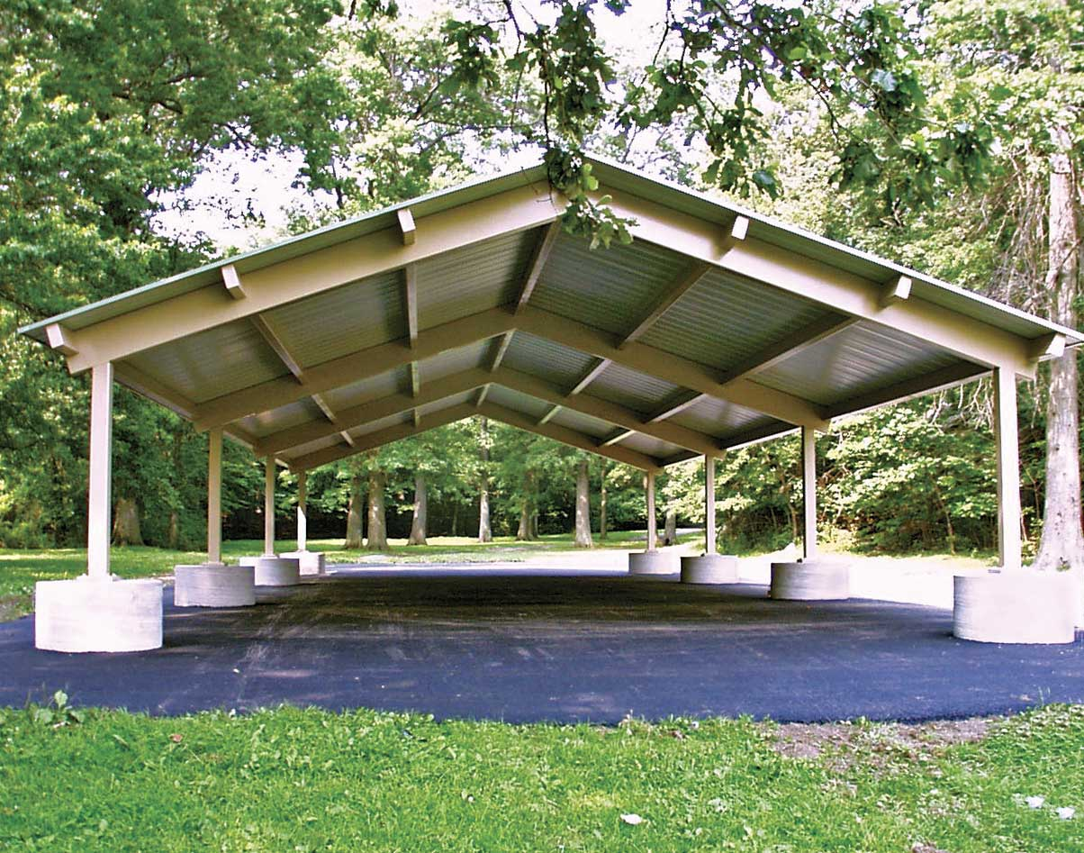 All Steel Single Roof Savannah Rectangle Pavilions