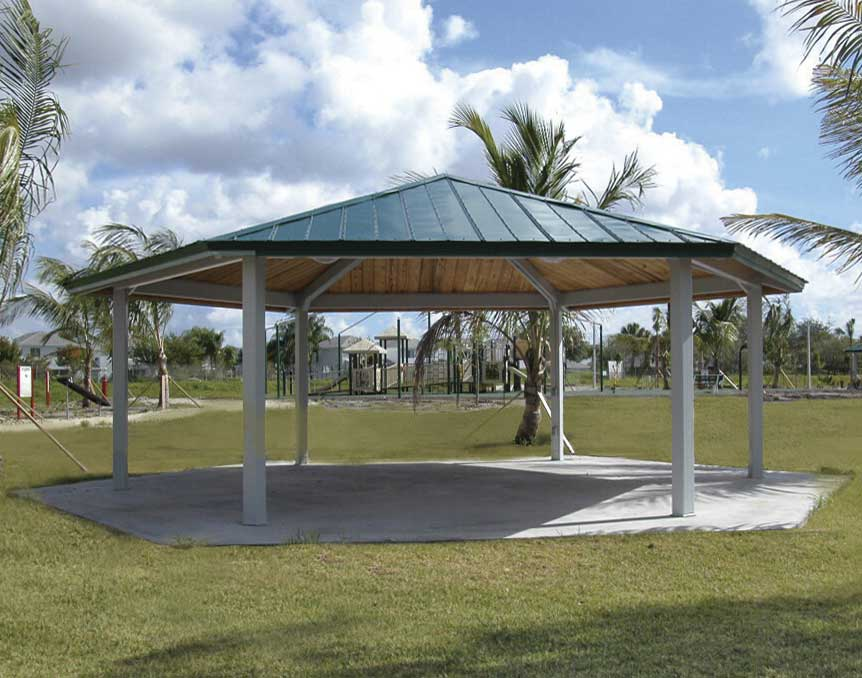 Steel Frame Single Roof Orchard Hexagon Pavilions