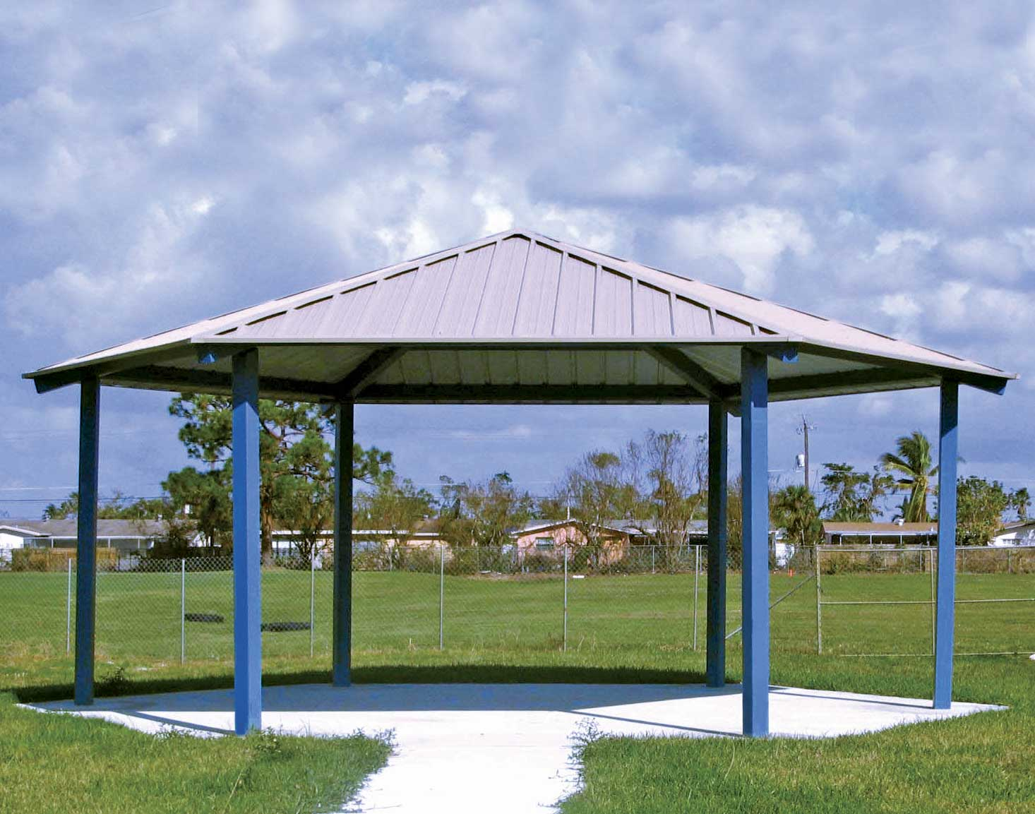 All steel single roof orchard hexagon pavilions for Hexagonal roof framing