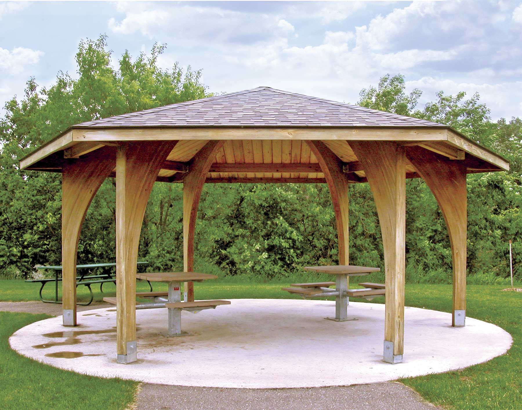 Wood single roof charleston hexagon pavilions for Garden pavilion designs