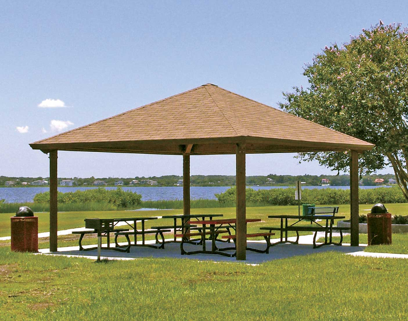 Wood single roof forestview square pavilions pavilions for 20x20 carport plans