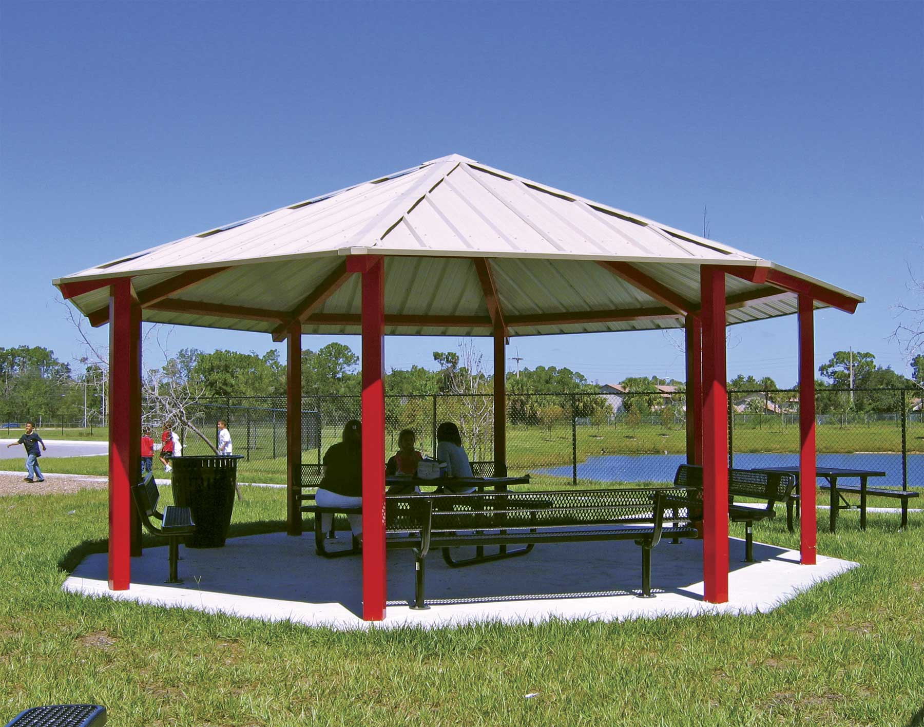 All steel single roof santa fe octagon pavilions Gazebo roof pitch