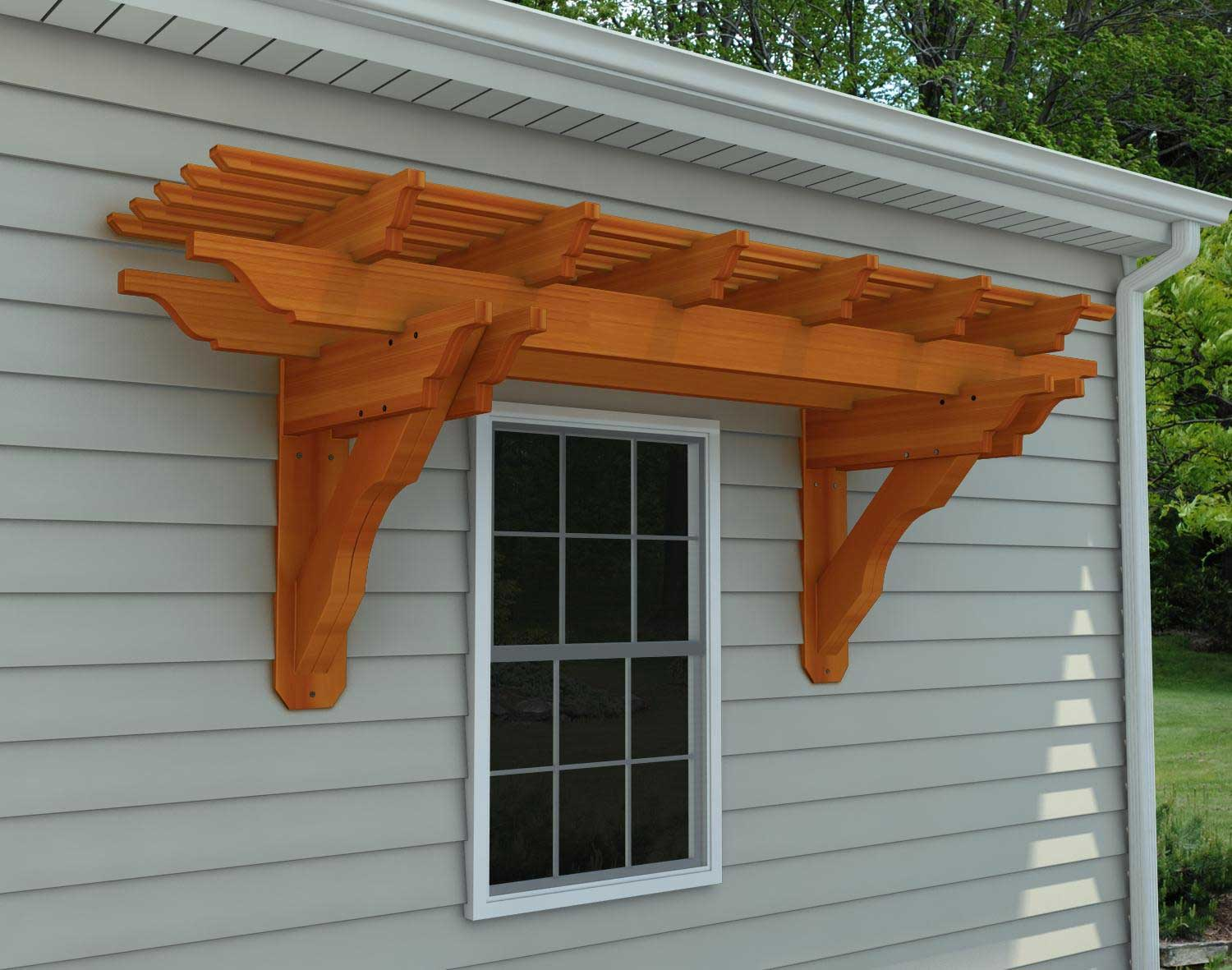 Red Cedar Eyebrow Breeze Wall Mount Pergolas Pergolas By