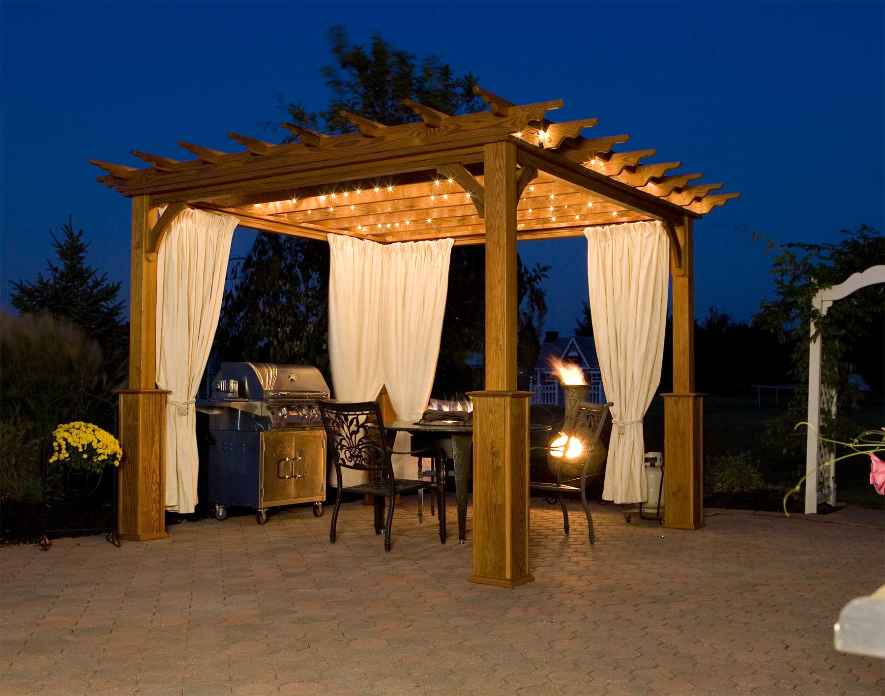Treated Pine Deluxe 4 Pergolas by Material ... - Outdoor Pergola Lights