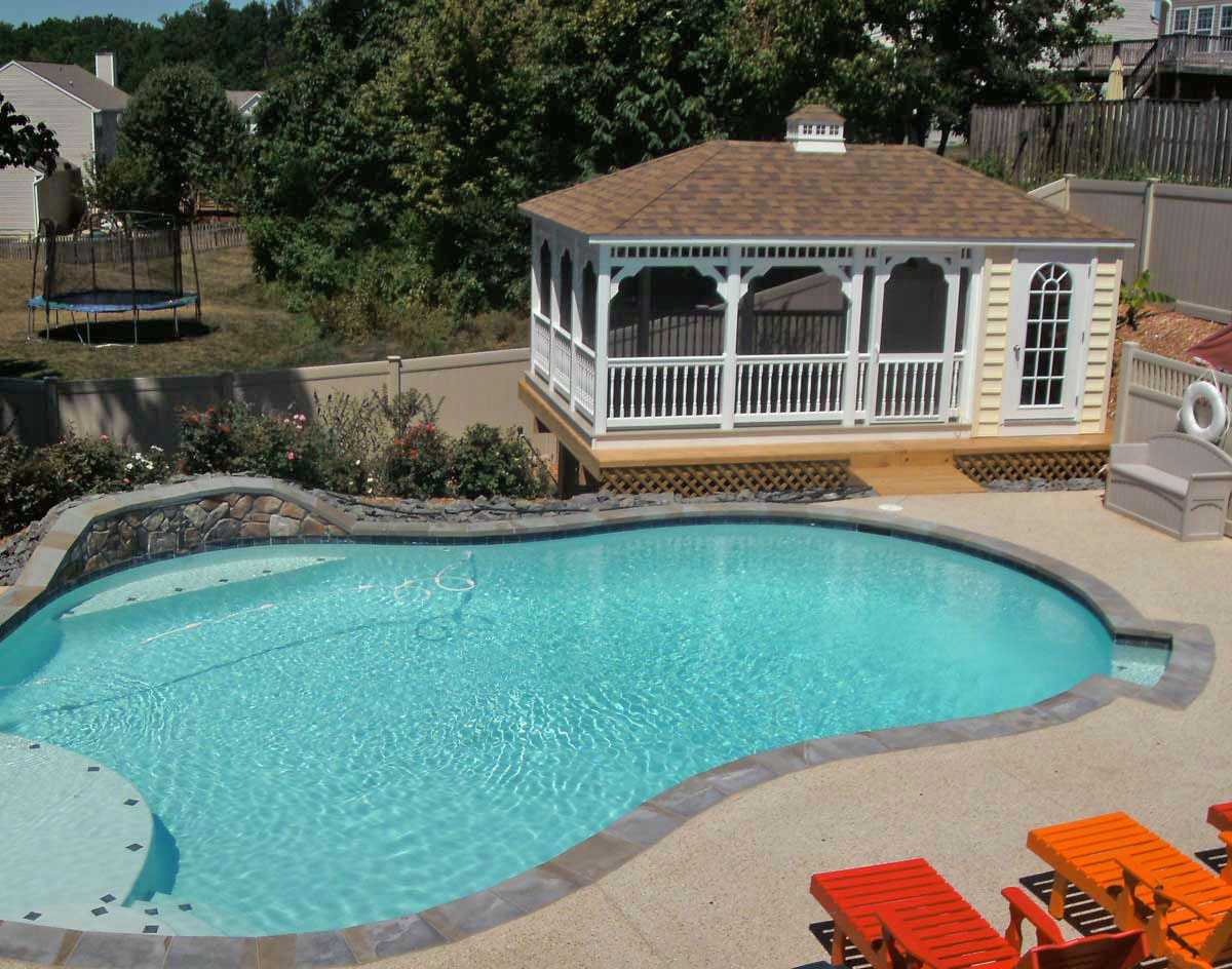 Vinyl rectangle pool houses pool houses by style for Pool and pool house