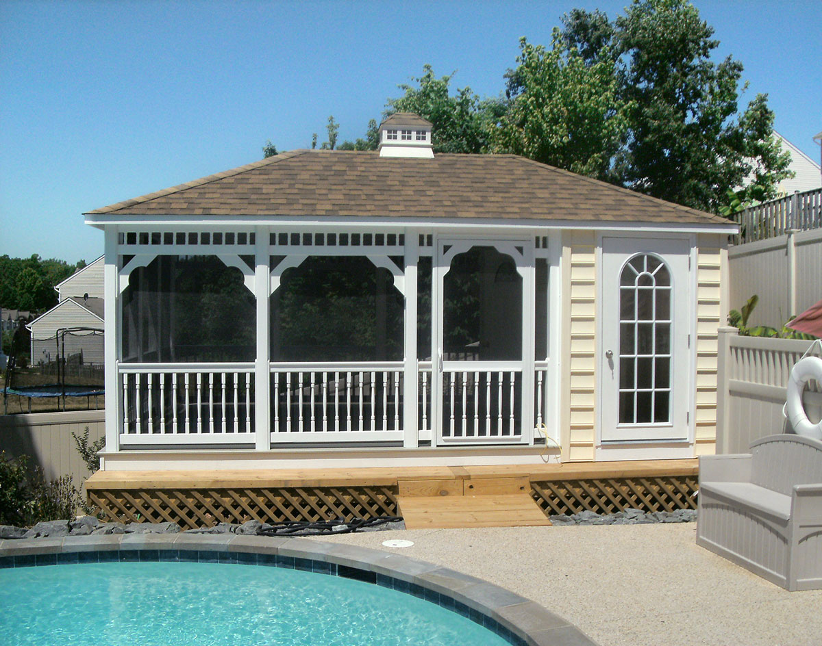 Vinyl rectangle pool houses pool houses by material for Rectangle house