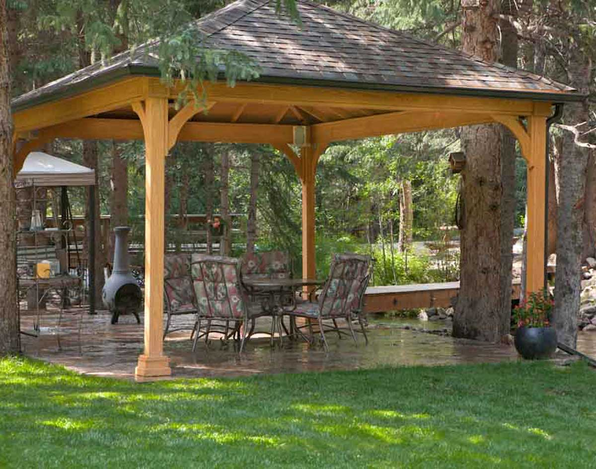 Treated Pine Single Roof Open Rectangle Gazebos With Cedar