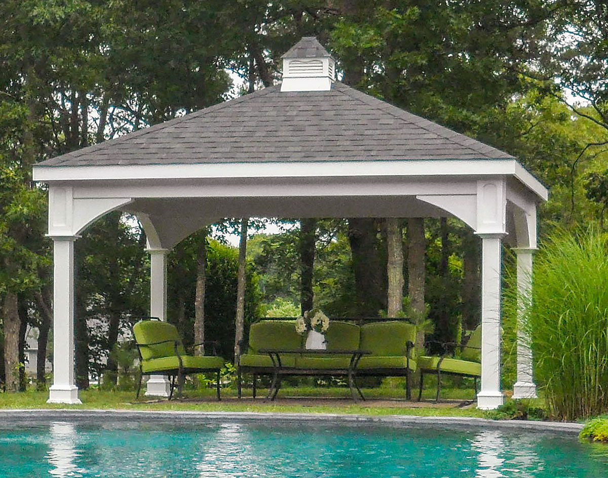 Pavillon X Style : Vinyl double roof open rectangle gazebos by style