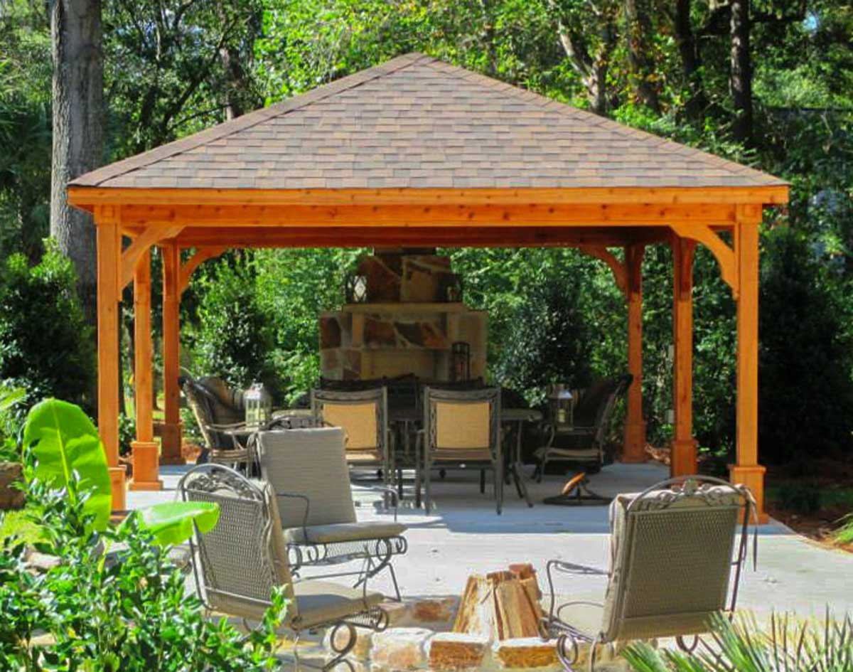 Red Cedar Gable Roof Open Rectangle Pavilions Pavilions